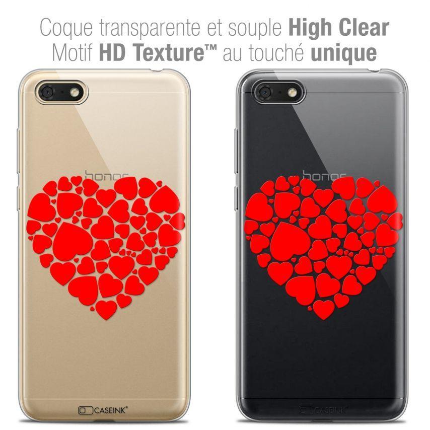 """Coque Crystal Gel Honor 7S (5.45"""") Extra Fine Love - Coeur des Coeurs"""