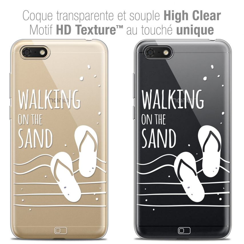 "Coque Crystal Gel Honor 7S (5.45"") Extra Fine Summer - Walking on the Sand"