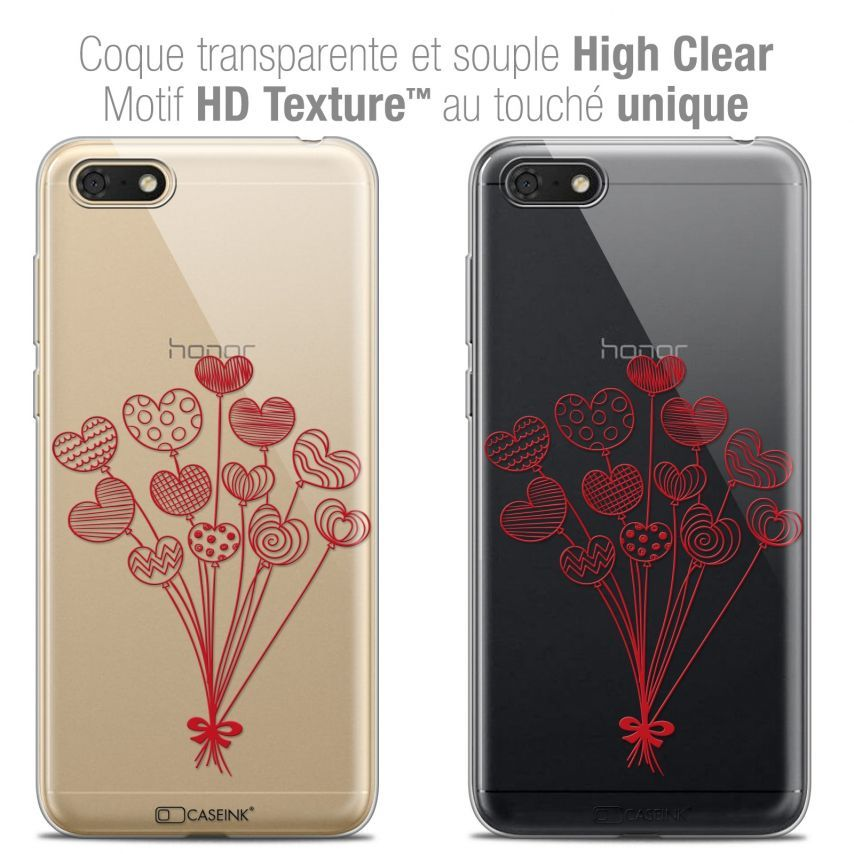 """Coque Crystal Gel Honor 7S (5.45"""") Extra Fine Love - Ballons d'amour"""