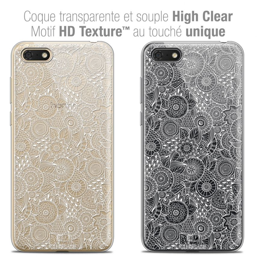 "Coque Crystal Gel Honor 7S (5.45"") Extra Fine Dentelle Florale - Blanc"