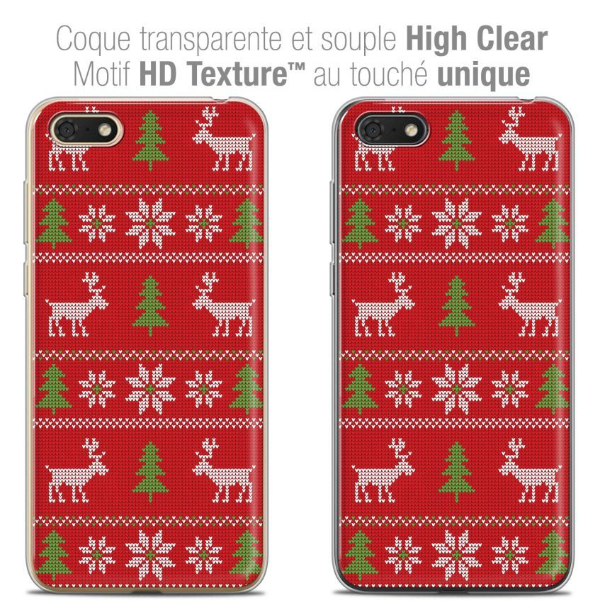"Coque Crystal Gel Honor 7S (5.45"") Extra Fine Noël 2017 - Couture Rouge"