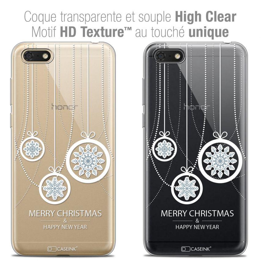 "Coque Crystal Gel Honor 7S (5.45"") Extra Fine Noël 2017 - Christmas Balls"