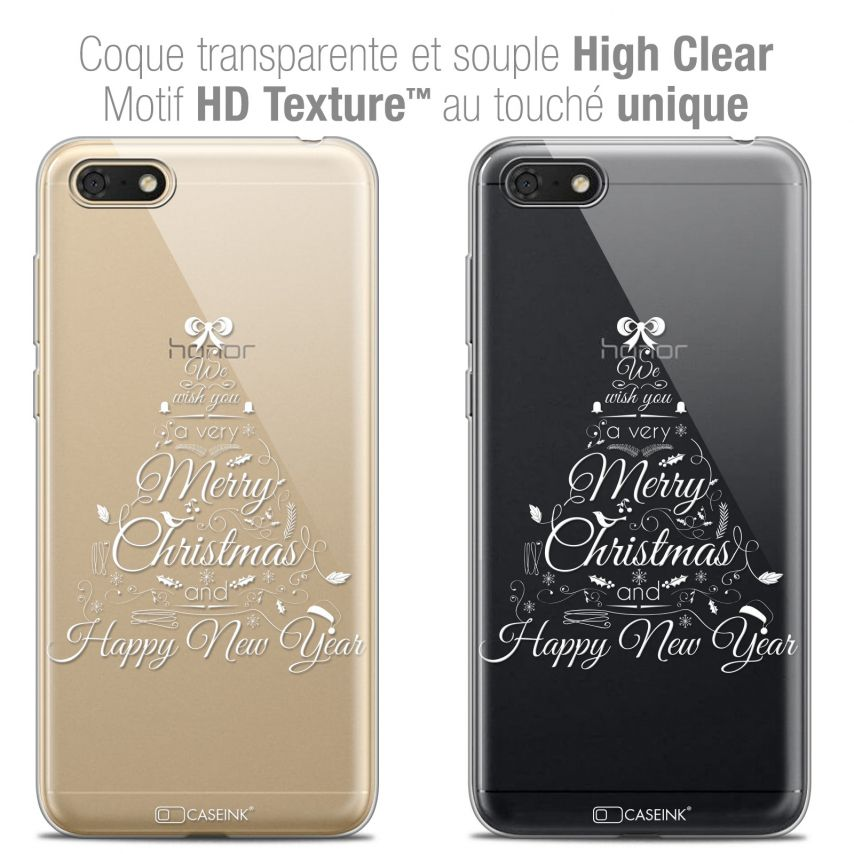 "Coque Crystal Gel Honor 7S (5.45"") Extra Fine Noël 2017 - Calligraphie"