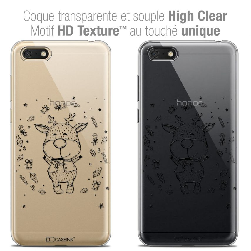 "Coque Crystal Gel Honor 7S (5.45"") Extra Fine Noël 2017 - Sketchy Cerf"