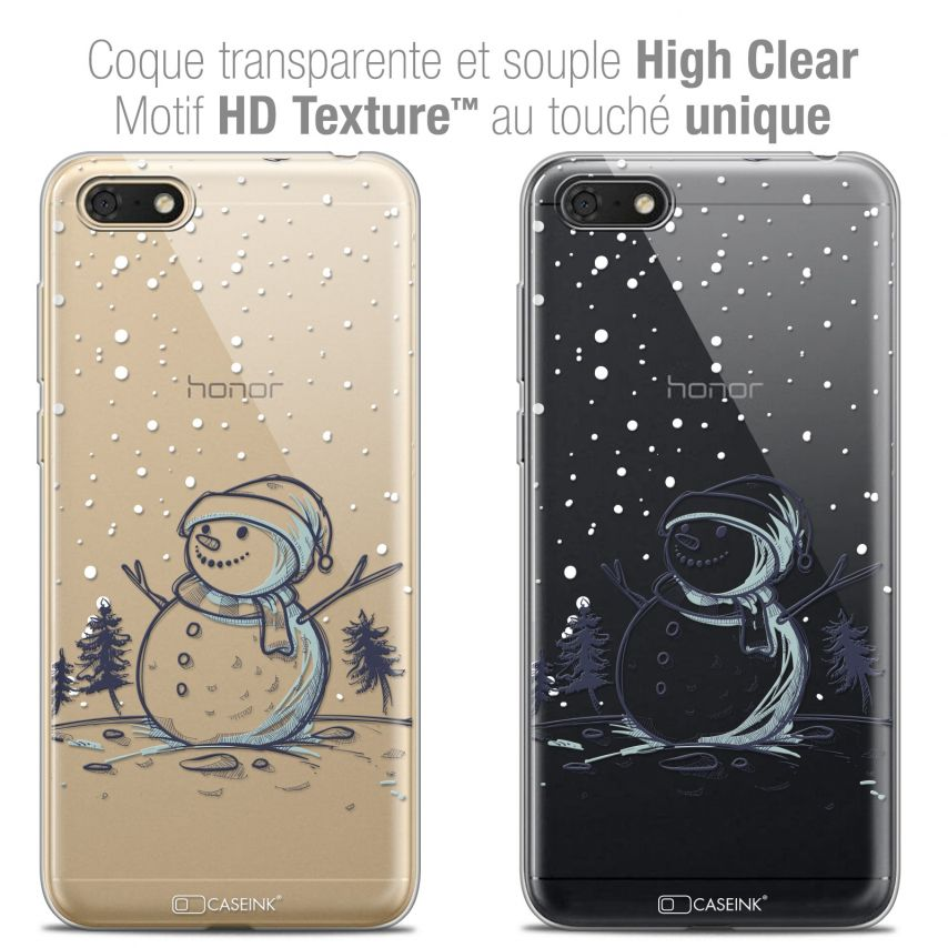 "Coque Crystal Gel Honor 7S (5.45"") Extra Fine Noël 2017 - Bonhomme de Neige"
