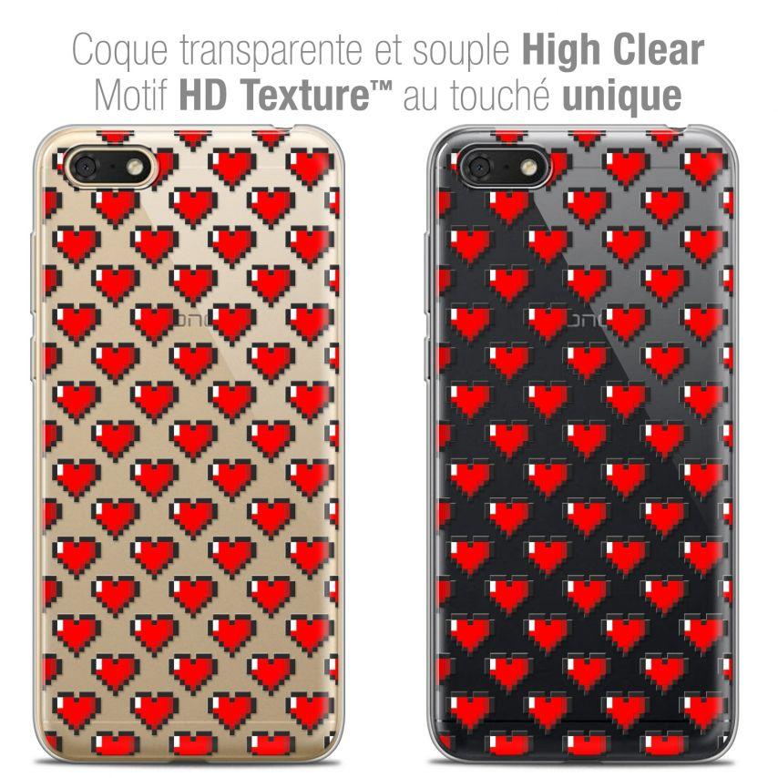 "Coque Crystal Gel Honor 7S (5.45"") Extra Fine Love - Pixel Art"