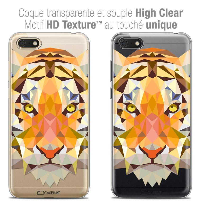 """Coque Crystal Gel Honor 7S (5.45"""") Extra Fine Polygon Animals - Tigre"""