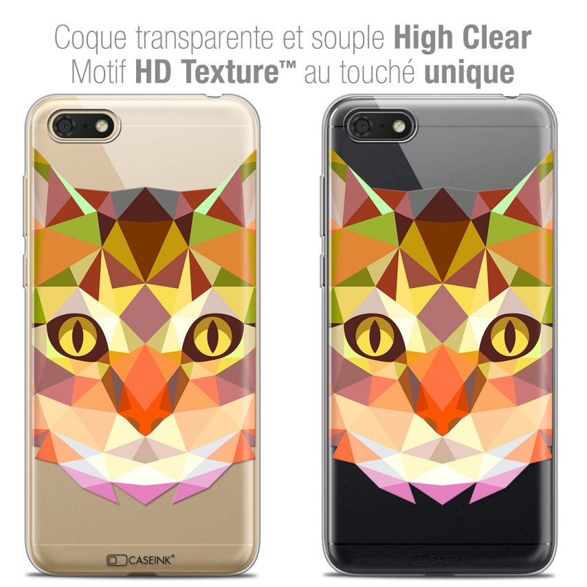 "Coque Crystal Gel Honor 7S (5.45"") Extra Fine Polygon Animals - Chat"