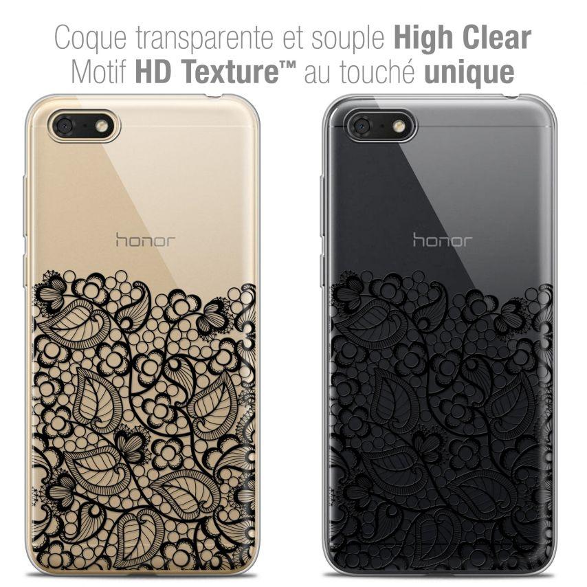 "Coque Crystal Gel Honor 7S (5.45"") Extra Fine Spring - Bas dentelle Noir"