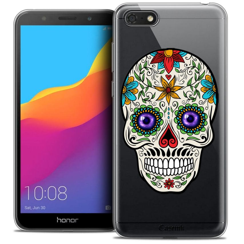 "Coque Crystal Gel Honor 7S (5.45"") Extra Fine Skull - Maria's Flower"