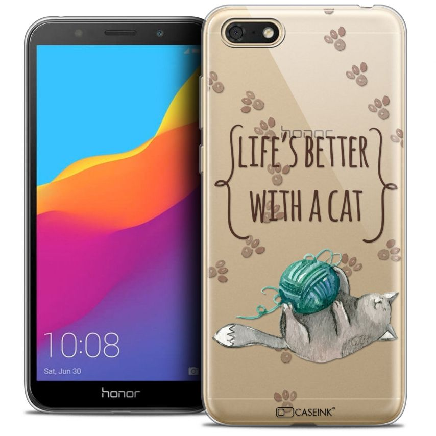 "Coque Crystal Gel Honor 7S (5.45"") Extra Fine Quote - Life's Better With a Cat"