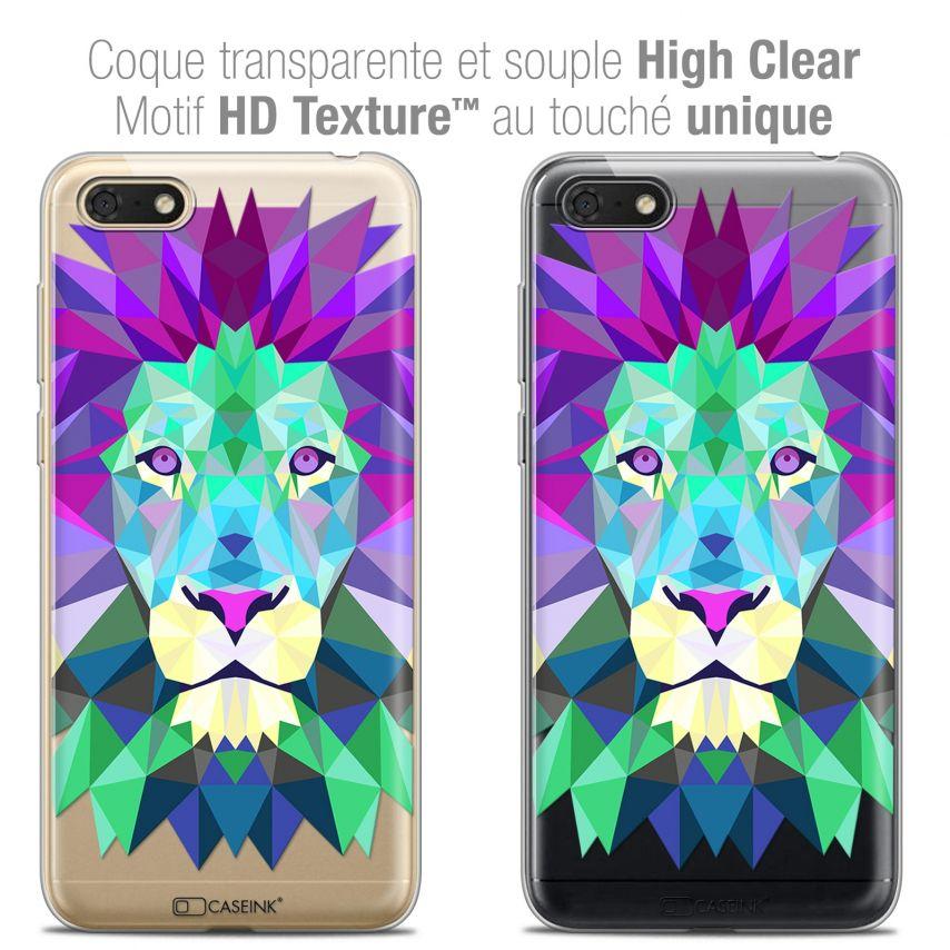 "Coque Crystal Gel Honor 7S (5.45"") Extra Fine Polygon Animals - Lion"