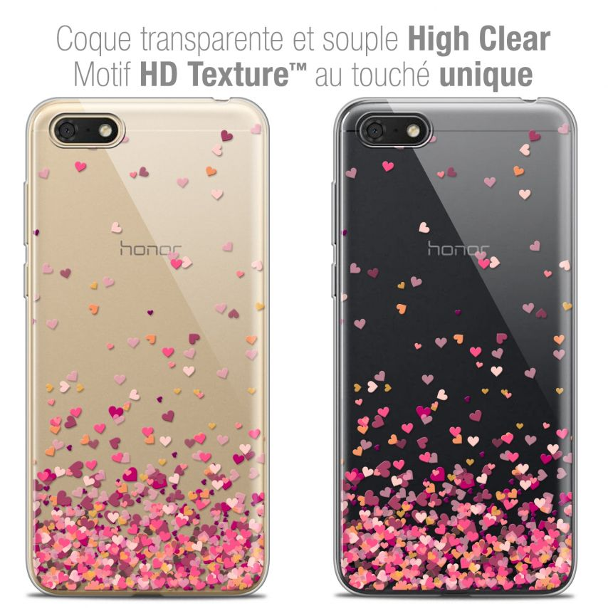 "Coque Crystal Gel Honor 7S (5.45"") Extra Fine Sweetie - Heart Flakes"