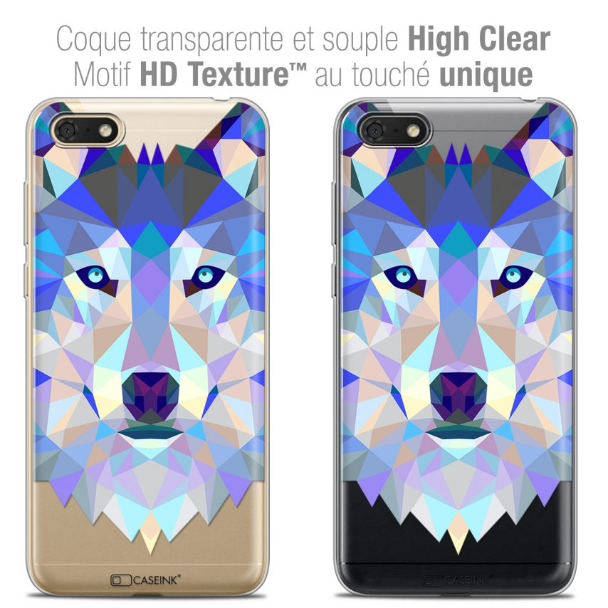 "Coque Crystal Gel Honor 7S (5.45"") Extra Fine Polygon Animals - Loup"
