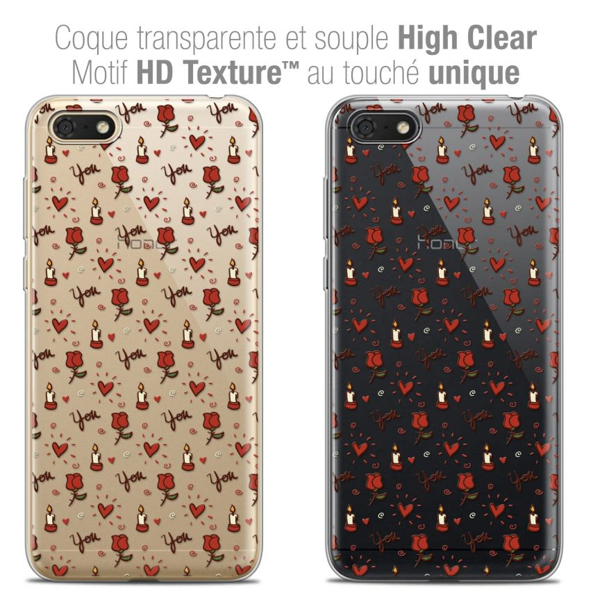"""Coque Crystal Gel Honor 7S (5.45"""") Extra Fine Love - Bougies et Roses"""