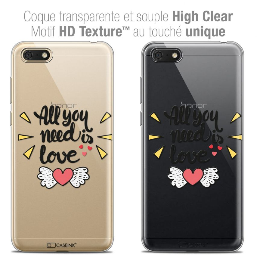 """Coque Crystal Gel Honor 7S (5.45"""") Extra Fine Love - All U Need Is"""