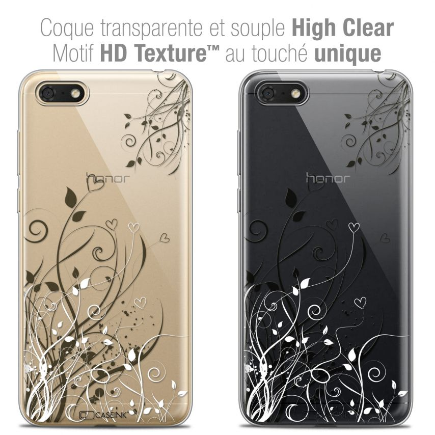 "Coque Crystal Gel Honor 7S (5.45"") Extra Fine Love - Hearts Flowers"