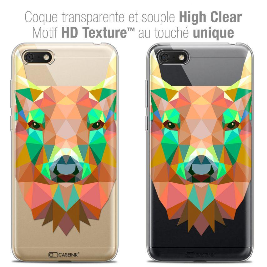 "Coque Crystal Gel Honor 7S (5.45"") Extra Fine Polygon Animals - Cerf"