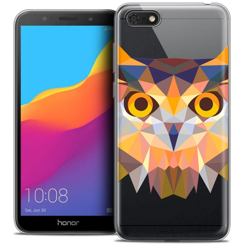 "Coque Crystal Gel Honor 7S (5.45"") Extra Fine Polygon Animals - Hibou"