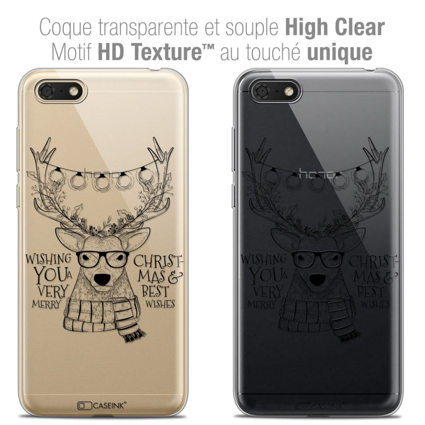 "Coque Crystal Gel Honor 7S (5.45"") Extra Fine Noël 2017 - Cerf Hipster"