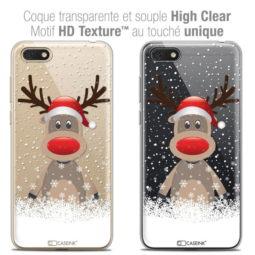 "Coque Crystal Gel Honor 7S (5.45"") Extra Fine Noël 2017 - Cerf au Bonnet"