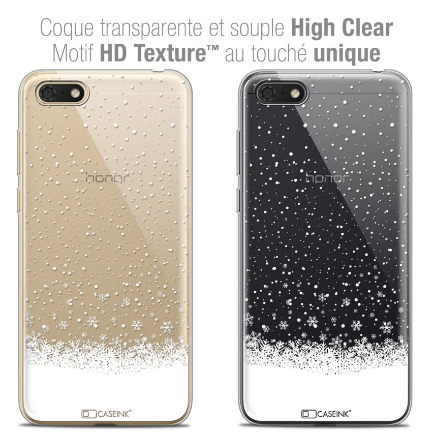 "Coque Crystal Gel Honor 7S (5.45"") Extra Fine Noël 2017 - Flocons de Neige"