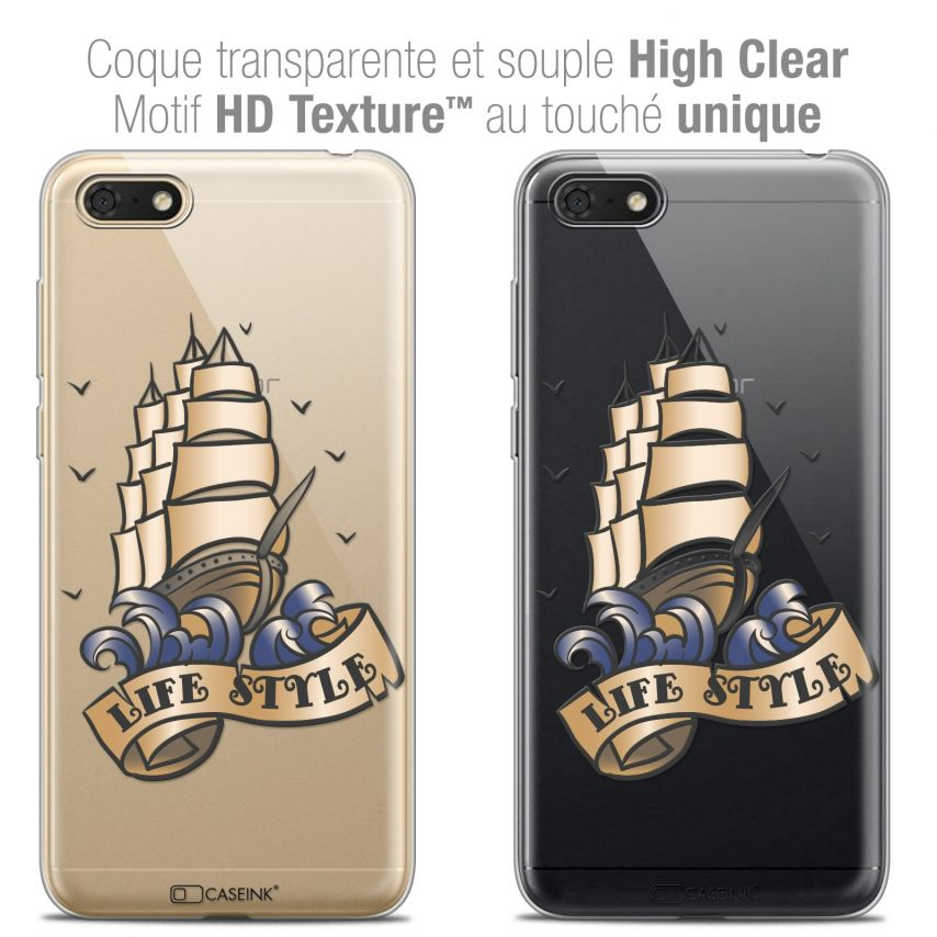 """Coque Crystal Gel Honor 7S (5.45"""") Extra Fine Tatoo Lover - Life Style"""
