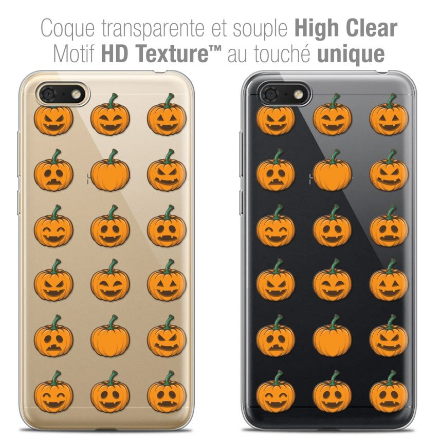 "Coque Crystal Gel Honor 7S (5.45"") Extra Fine Halloween - Smiley Citrouille"