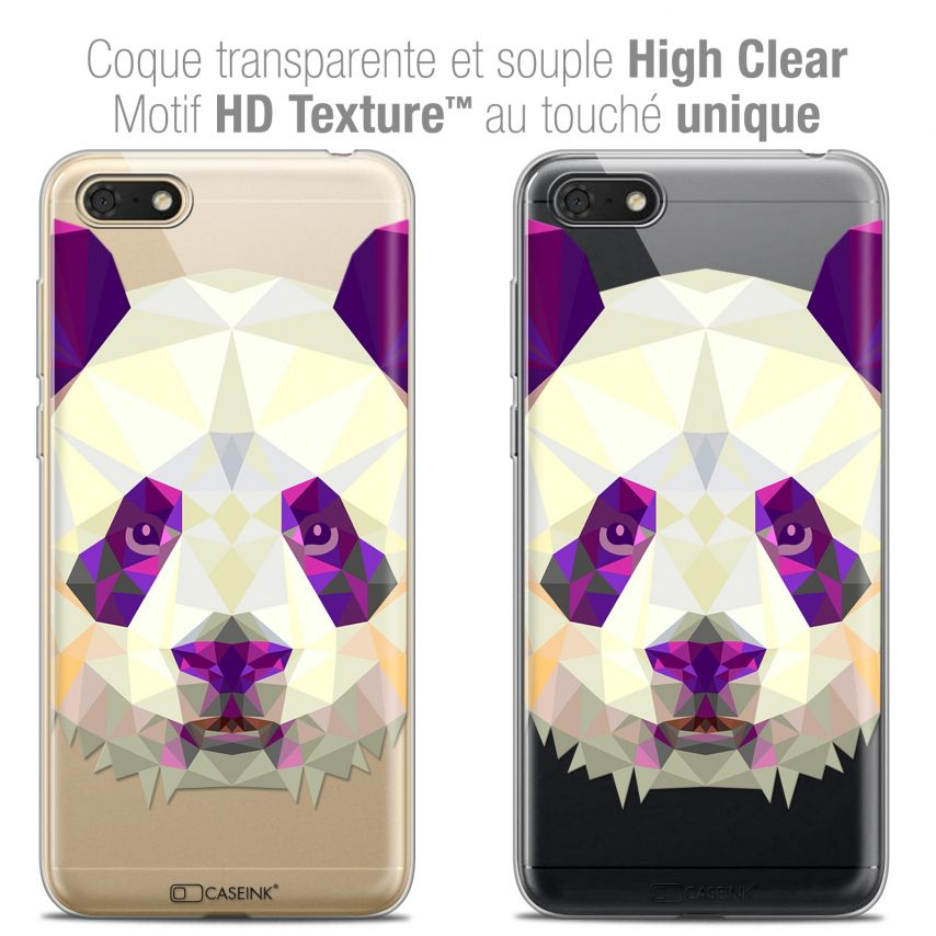 "Coque Crystal Gel Honor 7S (5.45"") Extra Fine Polygon Animals - Panda"