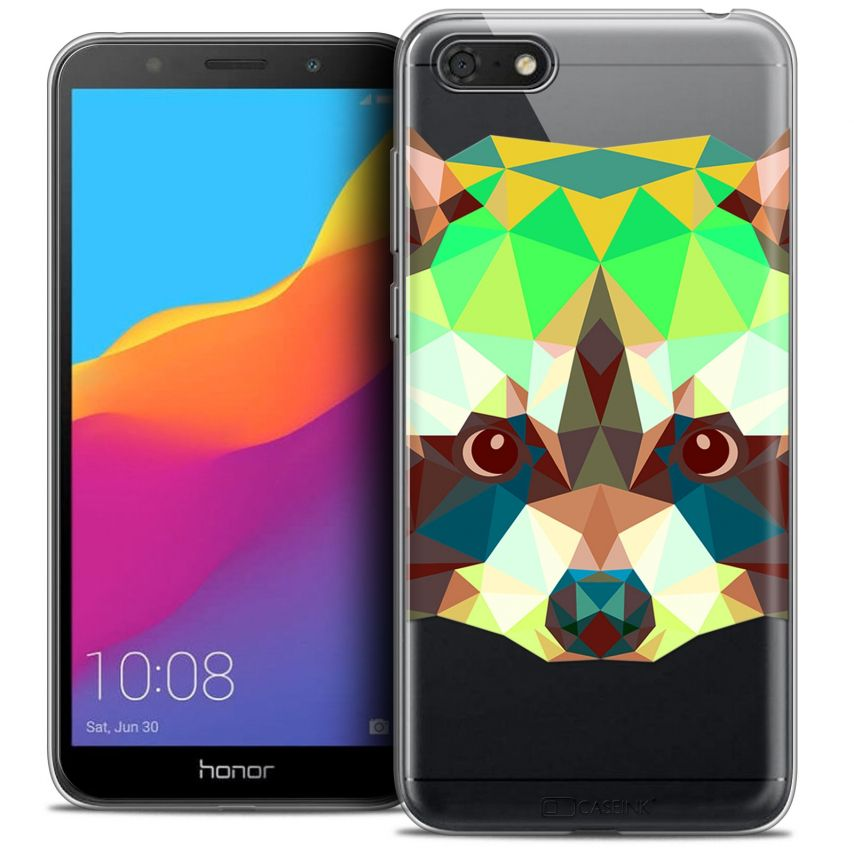 "Coque Crystal Gel Honor 7S (5.45"") Extra Fine Polygon Animals - Raton Laveur"