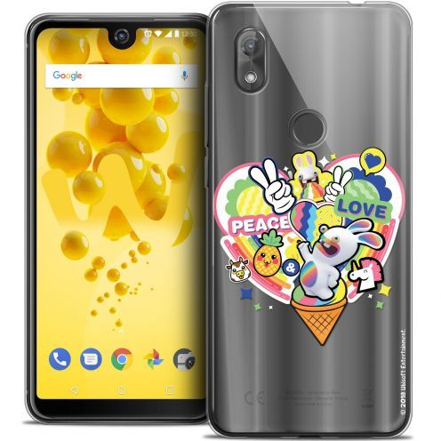 "Coque Gel Wiko View 2 (6.0"") Extra Fine Lapins Crétins™ - Peace And Love"