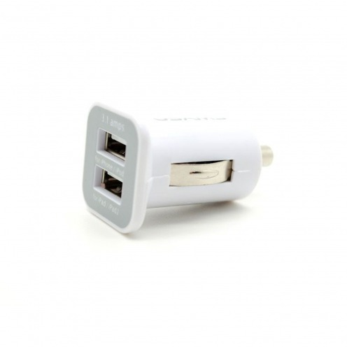 Micro chargeur voiture / Allume cigare Double USB 3100mA iPad iPhone Blanc
