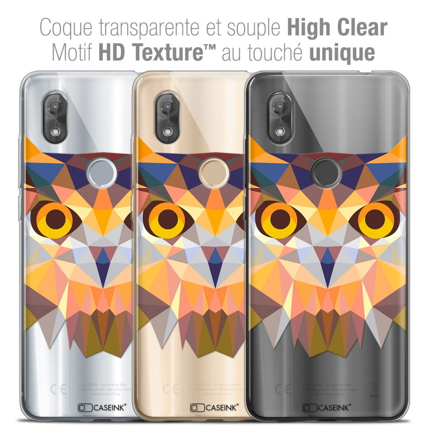 """Coque Crystal Gel Wiko View 2 (6.0"""") Extra Fine Polygon Animals - Hibou"""