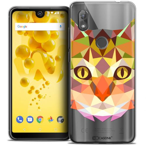 "Coque Crystal Gel Wiko View 2 (6.0"") Extra Fine Polygon Animals - Chat"