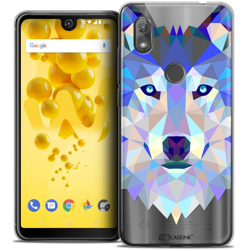 """Coque Crystal Gel Wiko View 2 (6.0"""") Extra Fine Polygon Animals - Loup"""