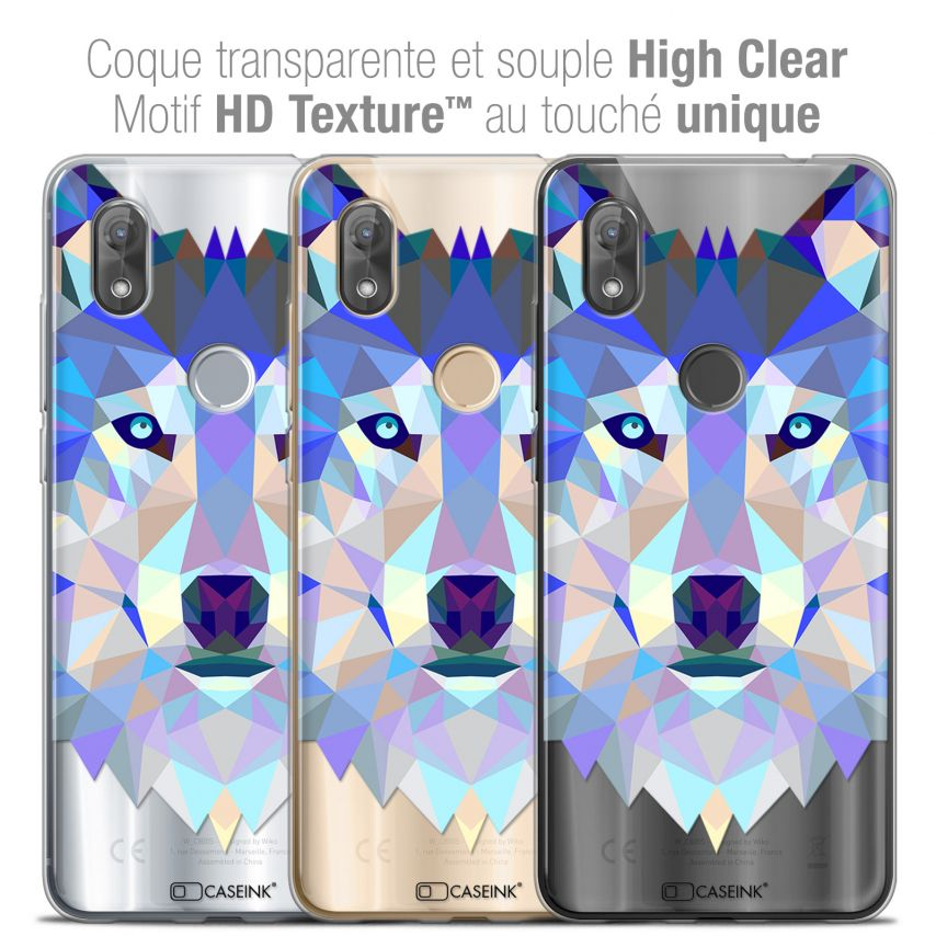 "Coque Crystal Gel Wiko View 2 (6.0"") Extra Fine Polygon Animals - Loup"