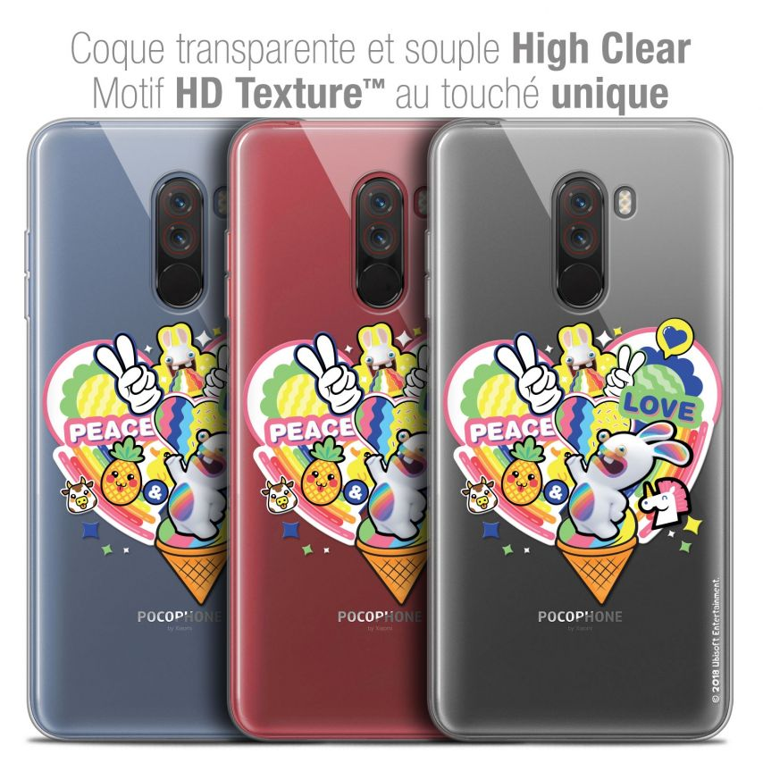 """Coque Gel Xiaomi Pocophone F1 (6.18"""") Extra Fine Lapins Crétins™ - Peace And Love"""