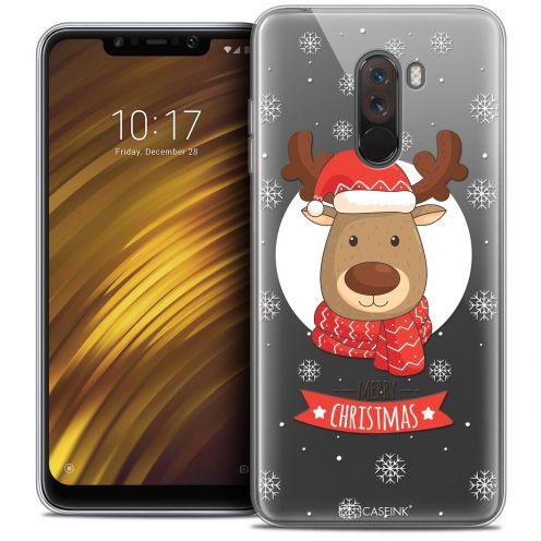 """Coque Crystal Gel Xiaomi Pocophone F1 (6.18"""") Extra Fine Noël 2017 - Cerf à Echarpe"""