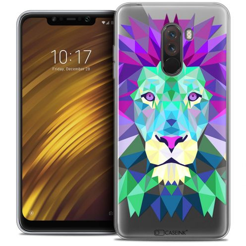 "Coque Crystal Gel Xiaomi Pocophone F1 (6.18"") Extra Fine Polygon Animals - Lion"