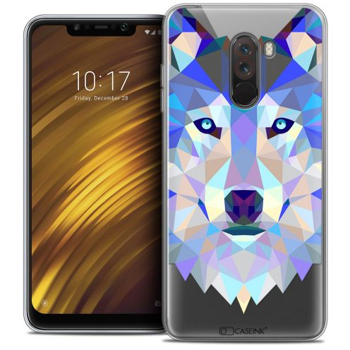 "Coque Crystal Gel Xiaomi Pocophone F1 (6.18"") Extra Fine Polygon Animals - Loup"