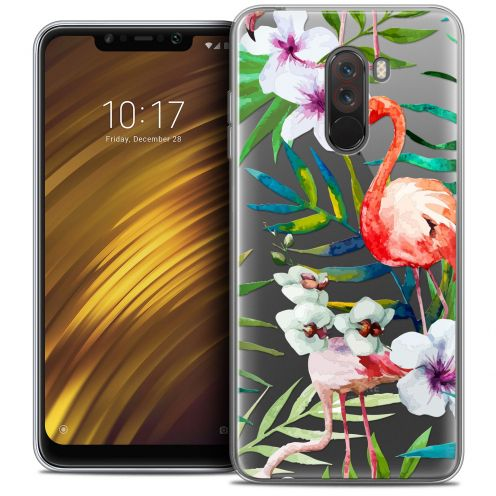 "Coque Crystal Gel Xiaomi Pocophone F1 (6.18"") Extra Fine Watercolor - Tropical Flamingo"