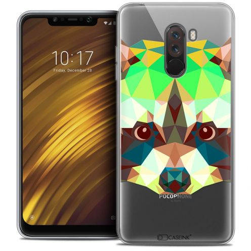 "Coque Crystal Gel Xiaomi Pocophone F1 (6.18"") Extra Fine Polygon Animals - Raton Laveur"