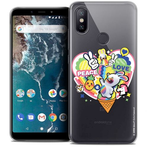 """Coque Gel Xiaomi Mi A2 (5.99"""") Extra Fine Lapins Crétins™ - Peace And Love"""