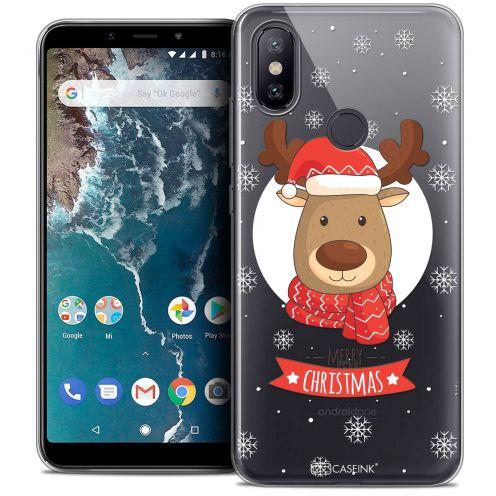 """Coque Crystal Gel Xiaomi Mi A2 (5.99"""") Extra Fine Noël 2017 - Cerf à Echarpe"""