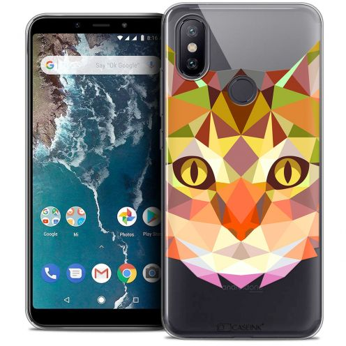 "Coque Crystal Gel Xiaomi Mi A2 (5.99"") Extra Fine Polygon Animals - Chat"