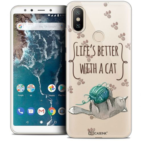 """Coque Crystal Gel Xiaomi Mi A2 (5.99"""") Extra Fine Quote - Life's Better With a Cat"""