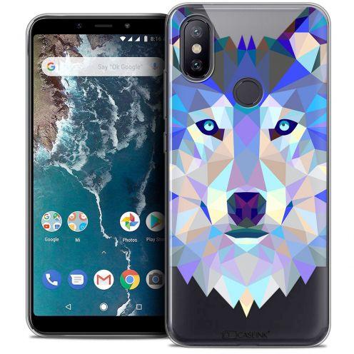 "Coque Crystal Gel Xiaomi Mi A2 (5.99"") Extra Fine Polygon Animals - Loup"