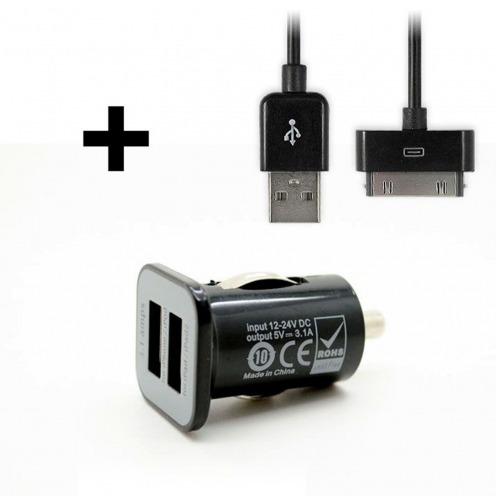 Micro chargeur voiture / Allume cigare Double USB 3100mA iPad iPhone Noir + Câble