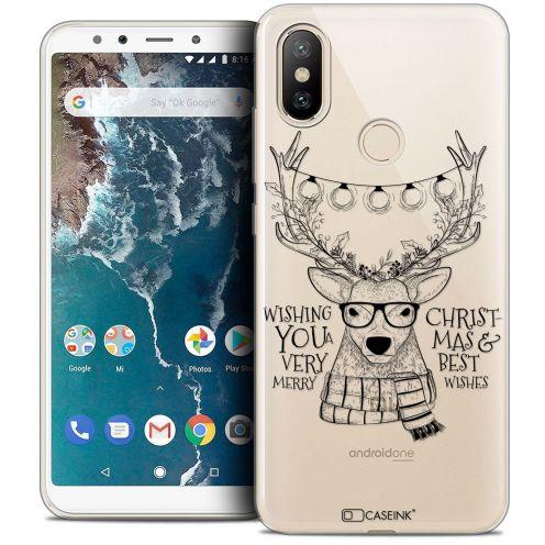"Coque Crystal Gel Xiaomi Mi A2 (5.99"") Extra Fine Noël 2017 - Cerf Hipster"