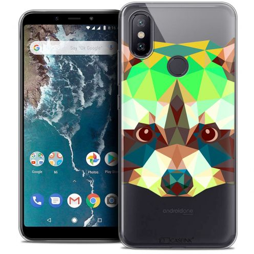 """Coque Crystal Gel Xiaomi Mi A2 (5.99"""") Extra Fine Polygon Animals - Raton Laveur"""